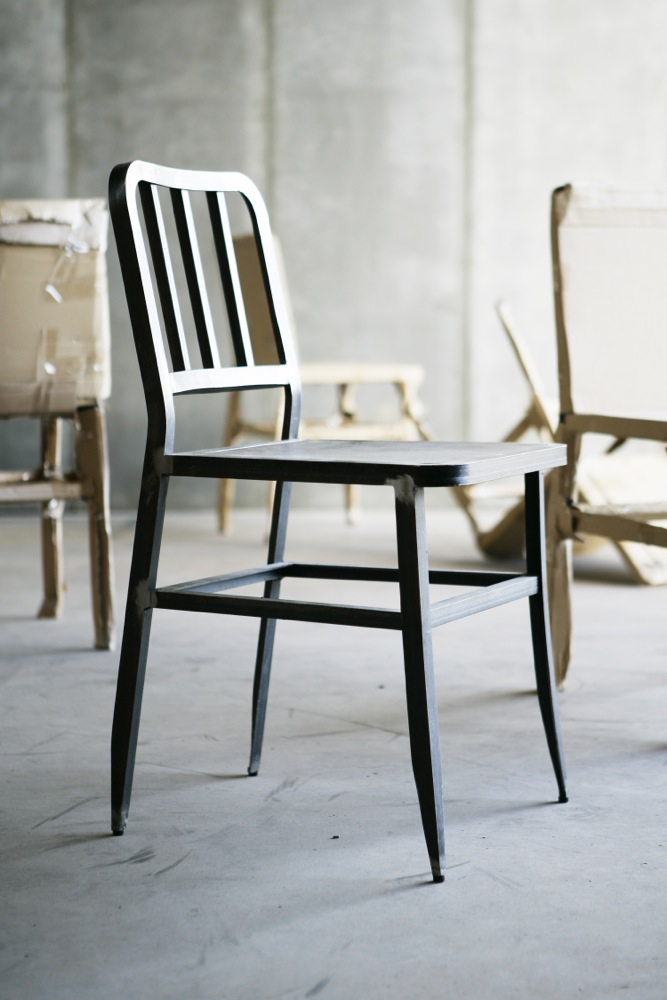 Metal Chair II with leather seat by Heerenhuis