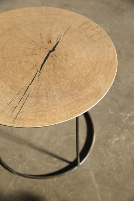 Nimbus coffee tables in oak (detail) & metal by Heerenhuis