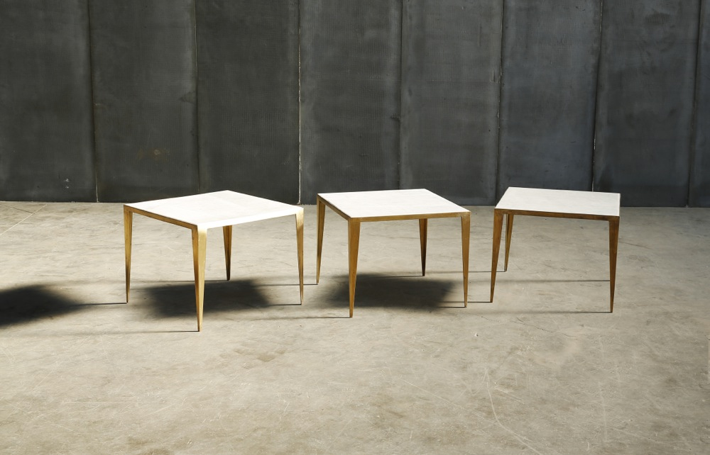 SHRP minor a coffee table in Carrara marble brass by