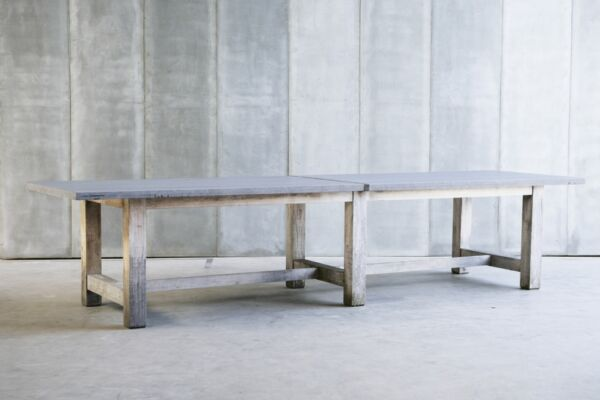 TT outdoor table - made to measure in French Oak & Bluestone by Heerenhuis