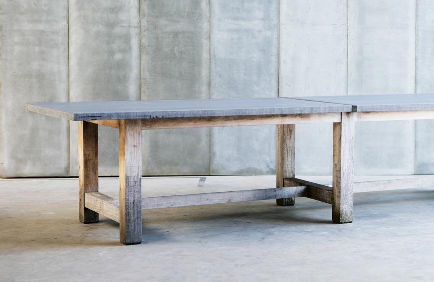 TT outdoor table – made to measure in French Oak & Bluestone by Heerenhuis