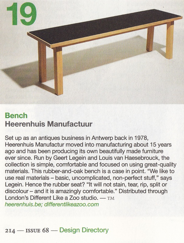 Monocle - November 2013 - Heerenhuis Rubber Bench