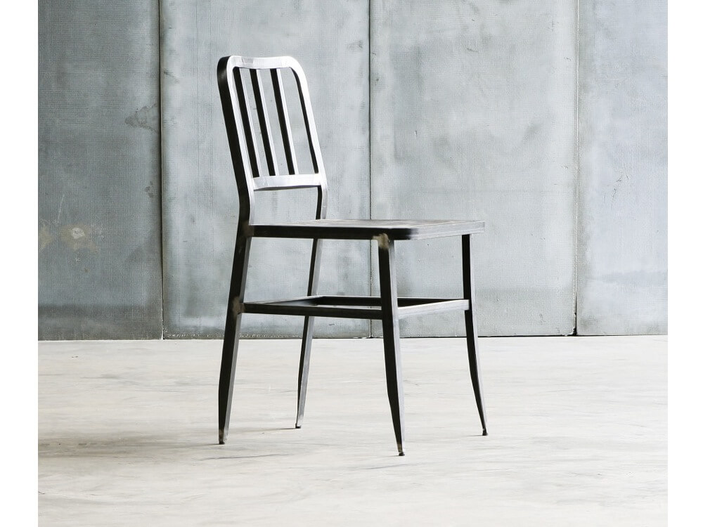 Metal Chair with leather seat by Heerenhuis at Different Like a Zoo
