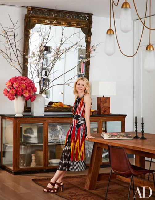 Iron dining chairs by Sol y Luna – Naomi Watts in Architectural Digest 1