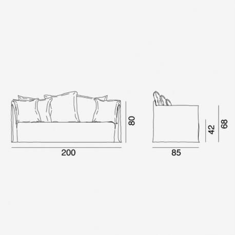 Ghost 10G sofa by Gervasoni – technical drawing