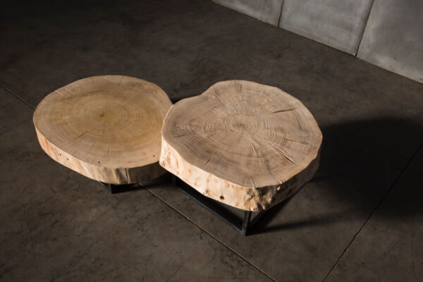 Poplar coffee tables finished with natural varnish by Heerenhuis