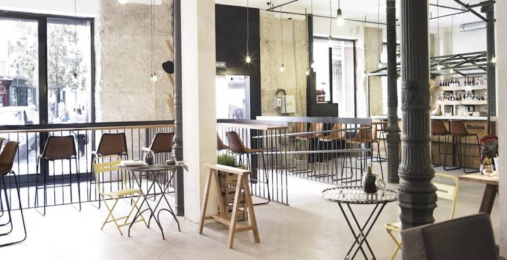 Giron bar stools in brown leather by Sol & Luna