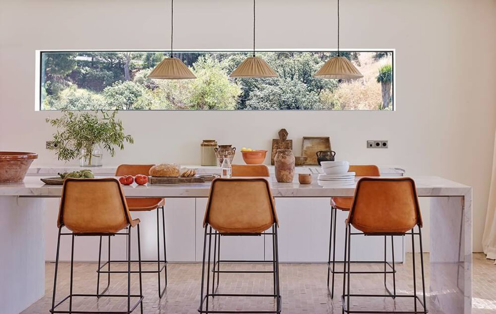 Giron bar stools in natural leather by Sol & Luna
