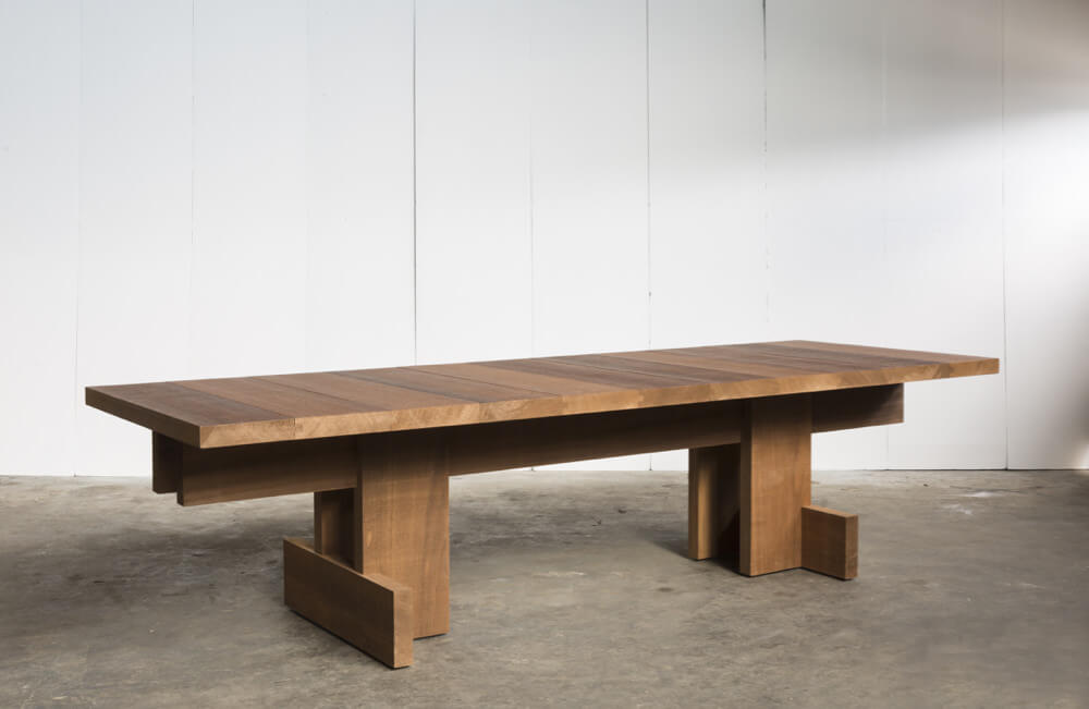 Kombinat table for indoors or outdoors – made to measure in African Ayous by Heerenhuis