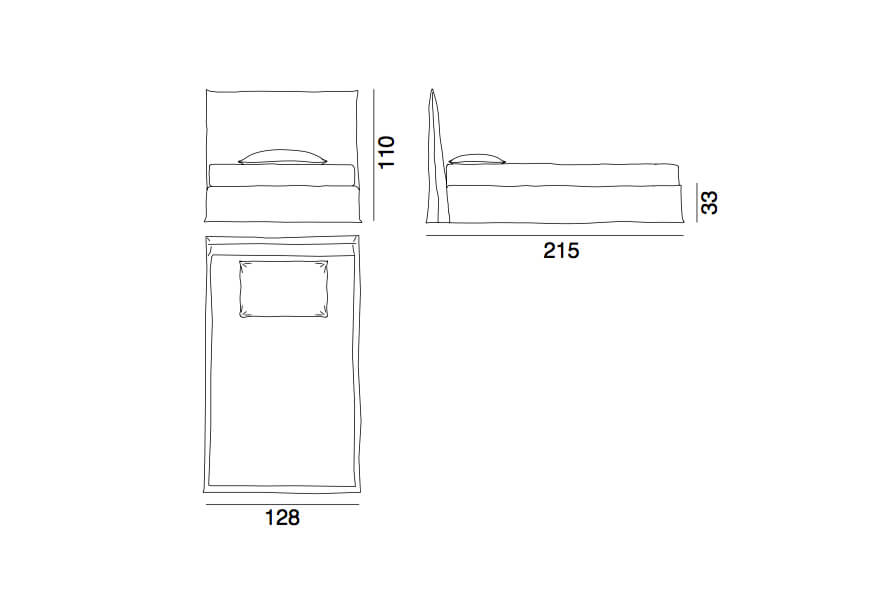 Ghost bed 80D - a small double bed by Gervasoni - technical drawing