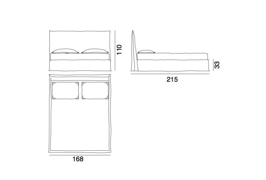 Ghost bed 80E - a king bed by Gervasoni - technical drawing