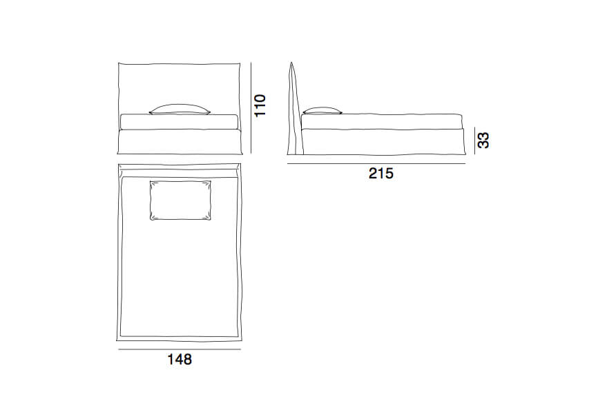 Ghost bed 80F - a double bed by Gervasoni - technical drawing