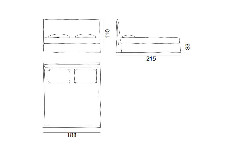Ghost 80G - a super king bed by Gervasoni - technical drawing