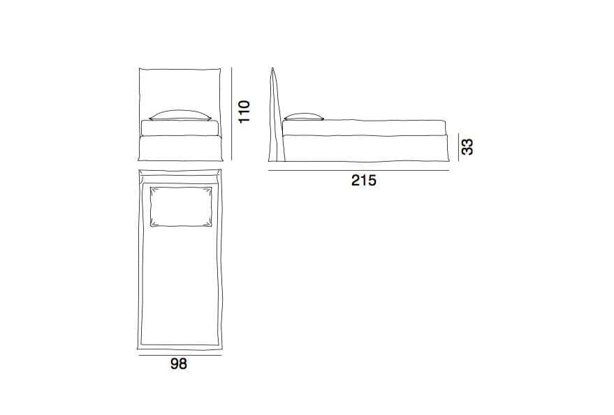 Ghost 80S - a single bed by Gervasoni - technical drawing