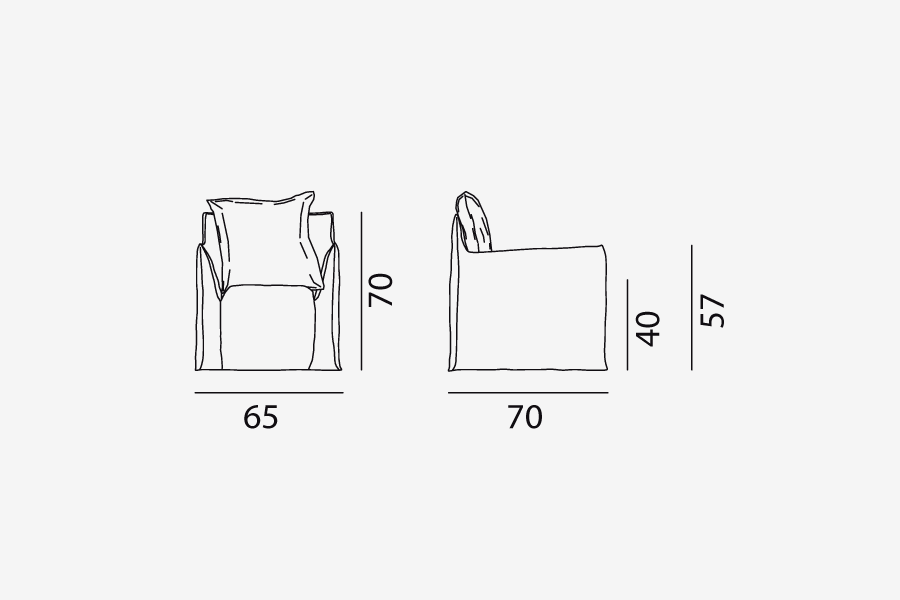 Ghost 05 armchair: a one seater designed by Paola Navone for Gervasoni - technical drawing
