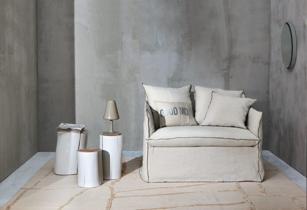 Ghost 11:  a loveseat or single sofabed designed by Paola Navone for Gervasoni – covers here in Rena with Nocciola stitching