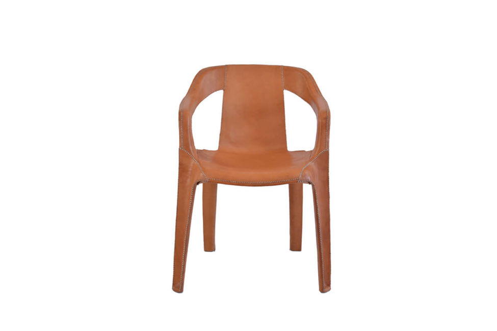 Cheap & Chic armchair in natural leather by Sol & Luna