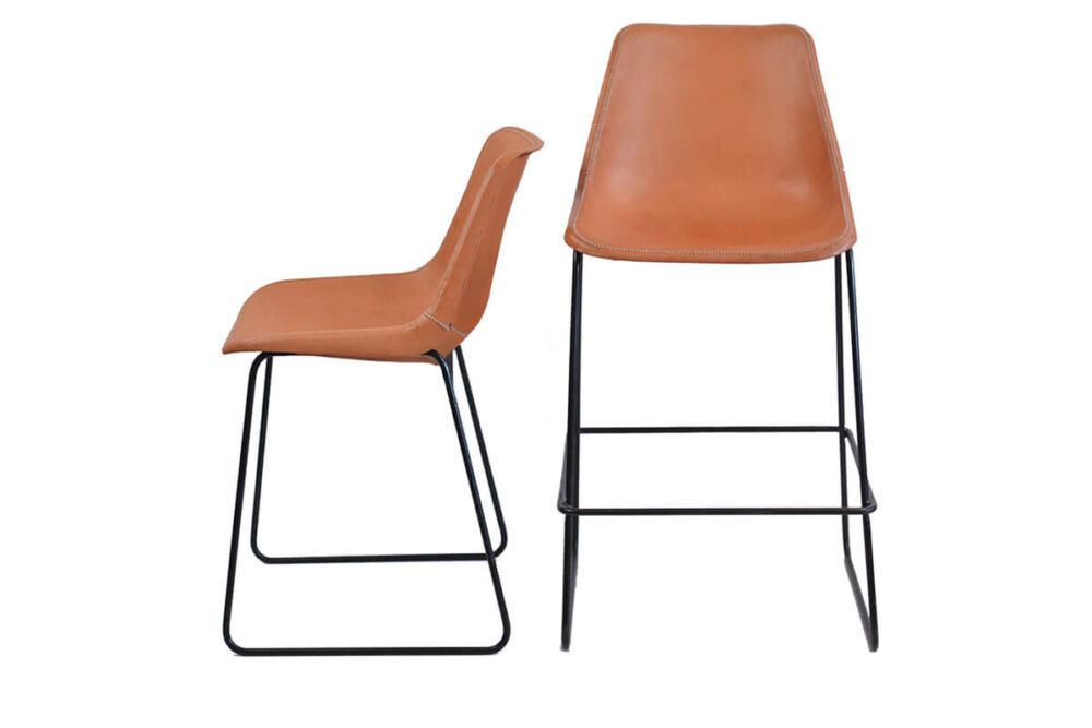 Giron dining chair (L) and Giron bar stool (R) - both in natural leather by Sol & Luna