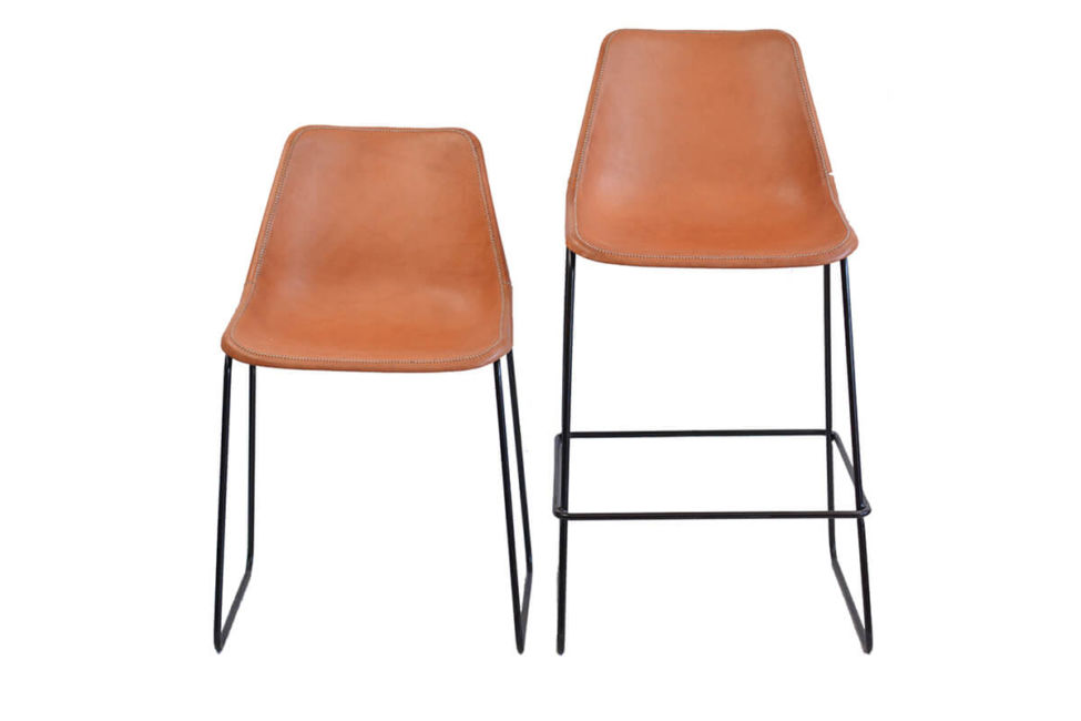 Giron dining chair (L) and Giron bar stool (R) – both in natural leather by Sol & Luna