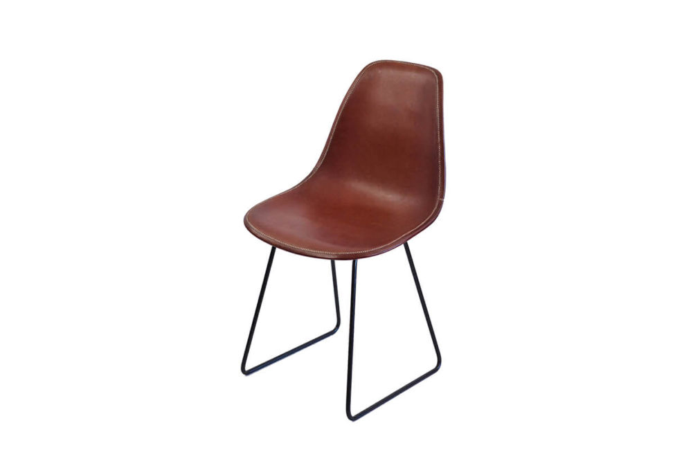 Sidney dining chair in brown leather by Sol & Luna