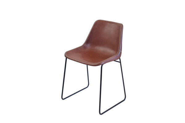 Giron dining chair in brown leather by Sol & Luna