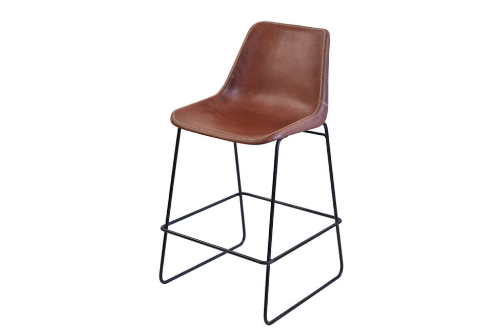 Giron bar stool in brown leather by Sol & Luna