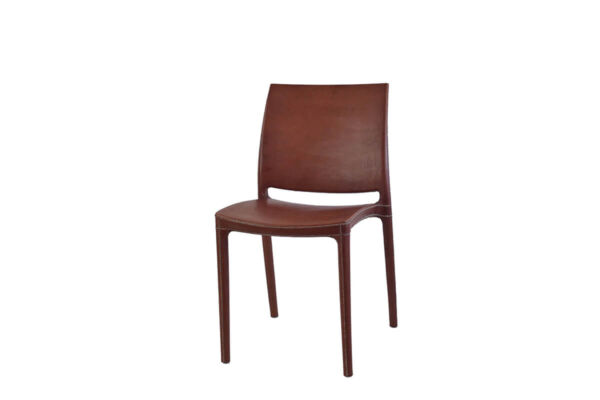 Pinasco dining chair in brown leather by Sol & Luna