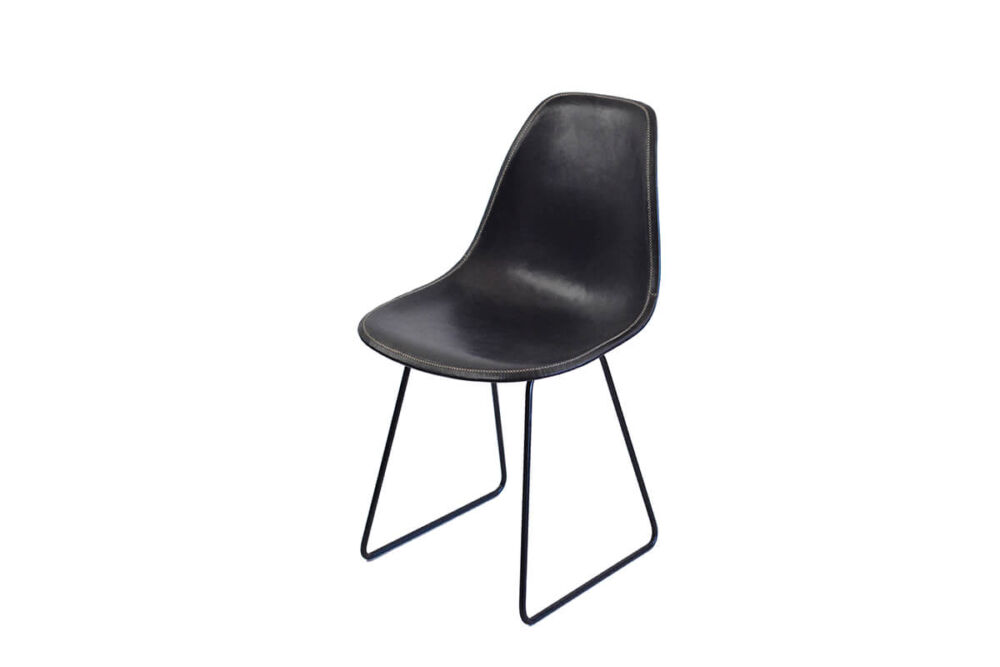 Sidney dining chair in black leather by Sol & Luna