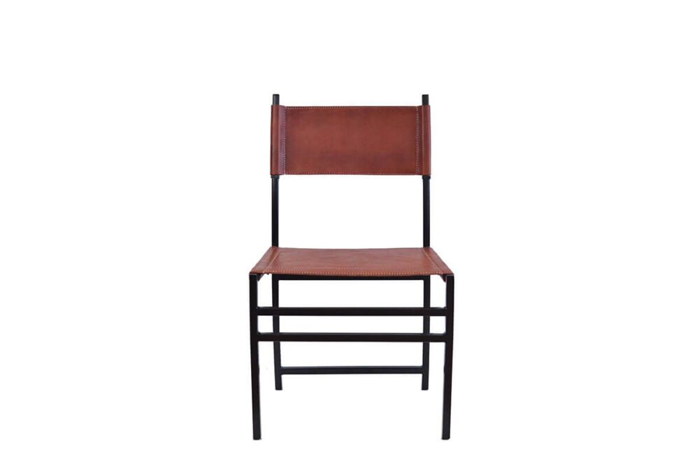 Luna dining chair in brown leather by Sol & Luna