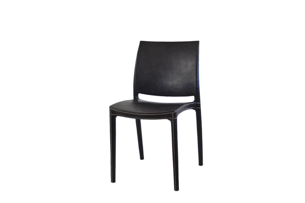 Pinasco dining chair in black leather by Sol & Luna