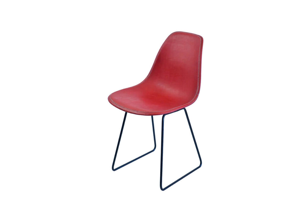 Sidney dining chair in red leather by Sol & Luna