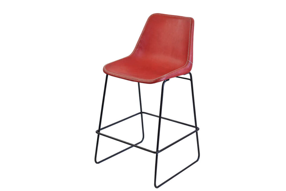 Giron bar stool in red leather by Sol & Luna