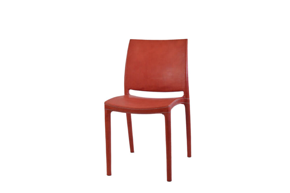 Pinasco dining chair in red leather by Sol & Luna