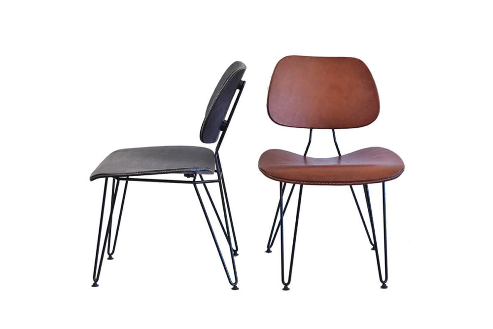 Nordic chair in black leather and brown leather by Sol & Luna