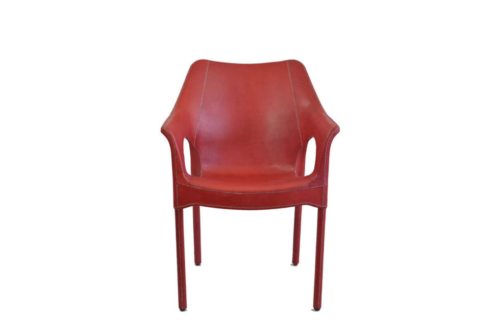 Capiata armchair in red leather by Sol & Luna