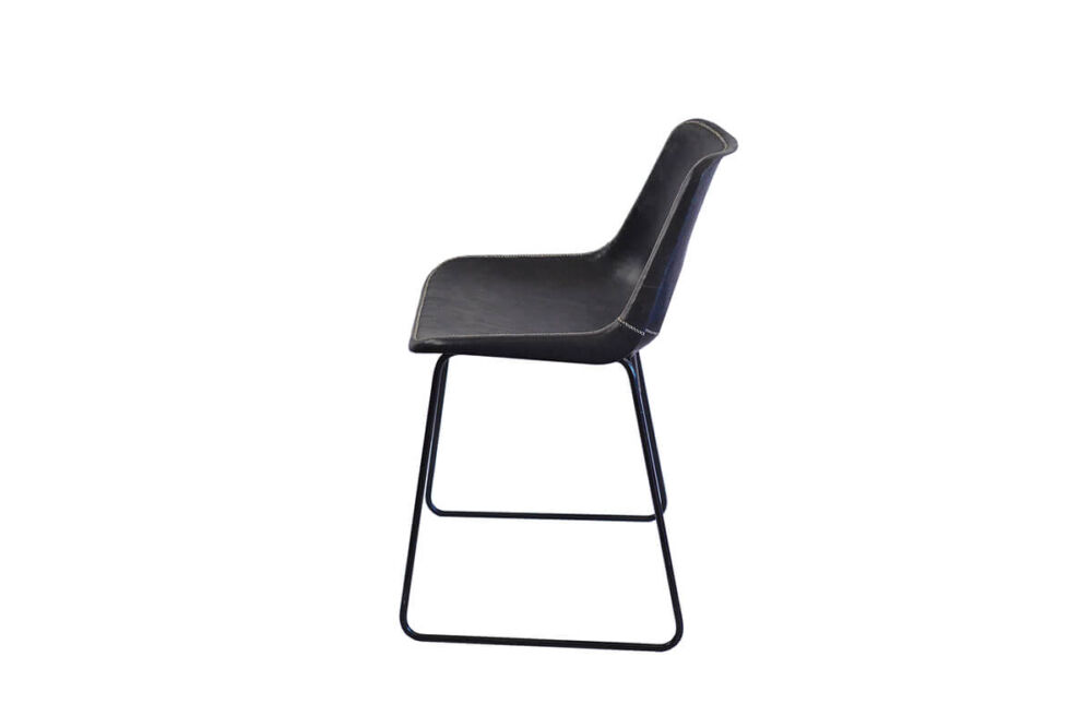 Giron dining chair in black leather by Sol & Luna