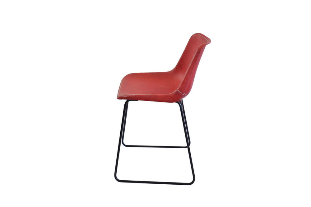 Giron dining chair in red leather by Sol & Luna