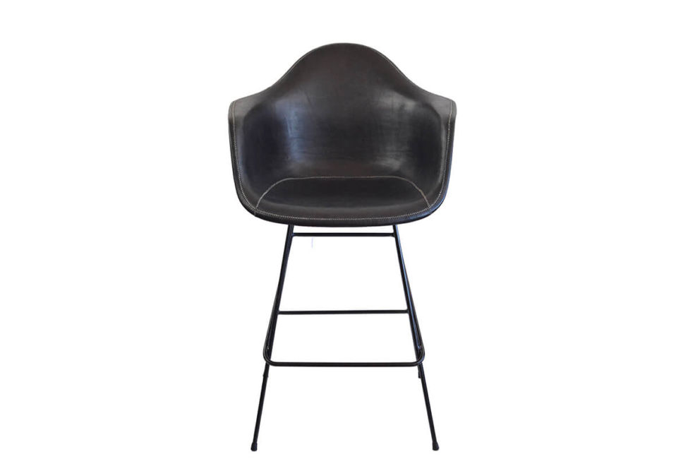 Beto bar stool in black leather by Sol & Luna