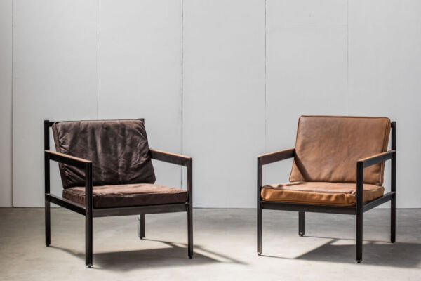Cargo armchair with waxed canvas cushions (L) or distressed leather cushions (R) by Heerenhuis