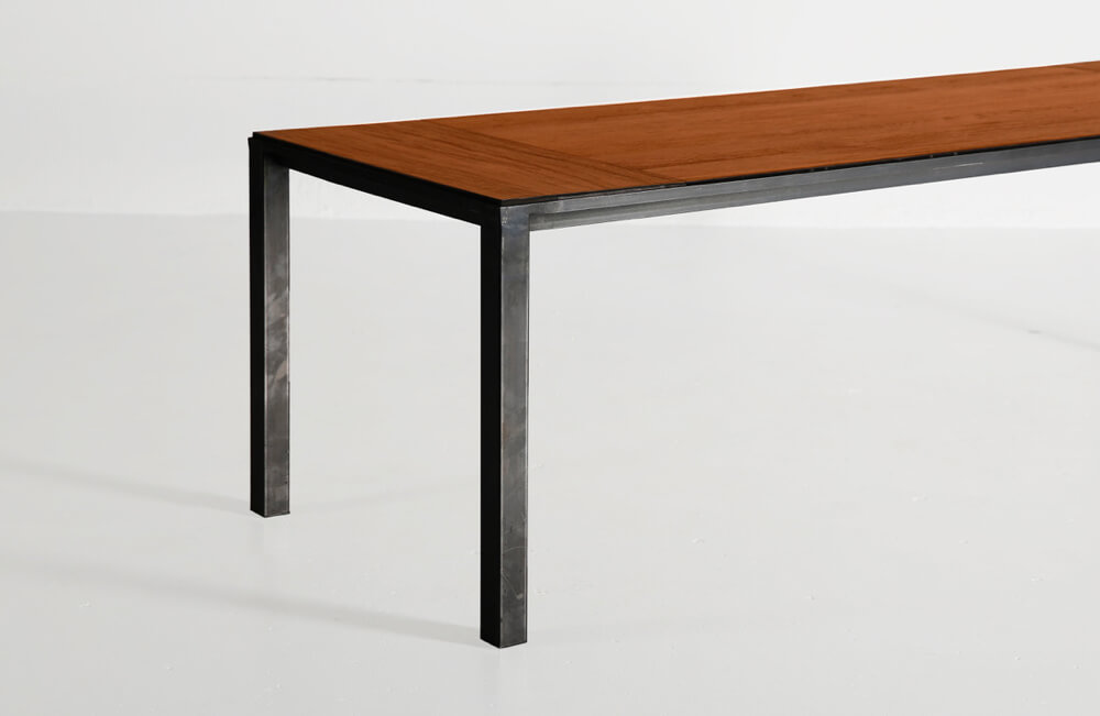 CTR table with reclaimed teak top and natural finish by Heerenhuis