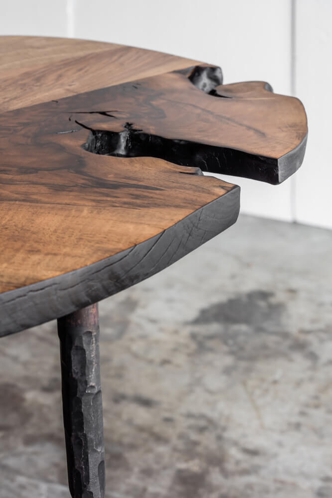 Lars Zech console table or dining table in Italian walnut by Heerenhuis