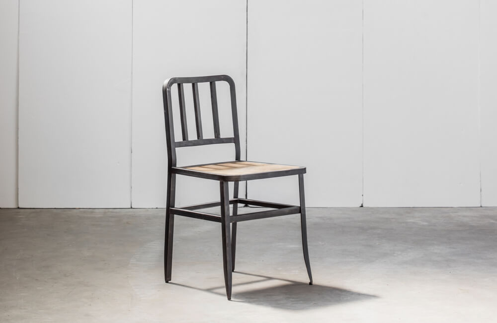 Metal Chair with leather seat pad by Heerenhuis