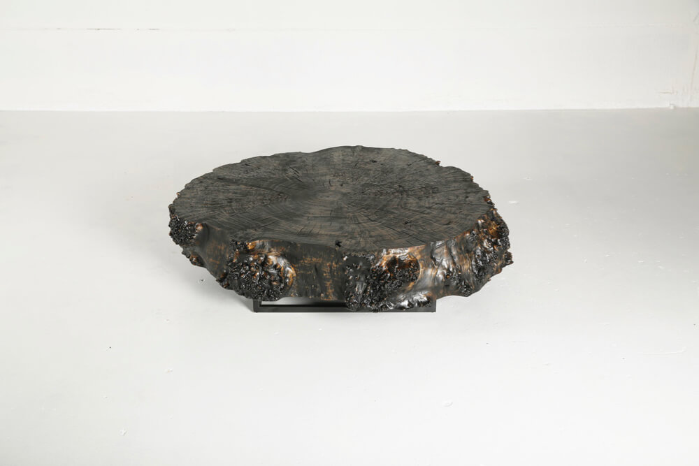 Poplar coffee table with charcoal varnish finish by Heerenhuis