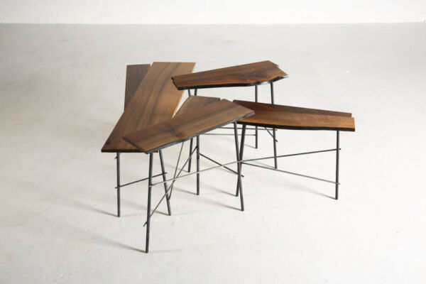 Scrap - coffee tables in Italian walnut & metal by Heerenhuis
