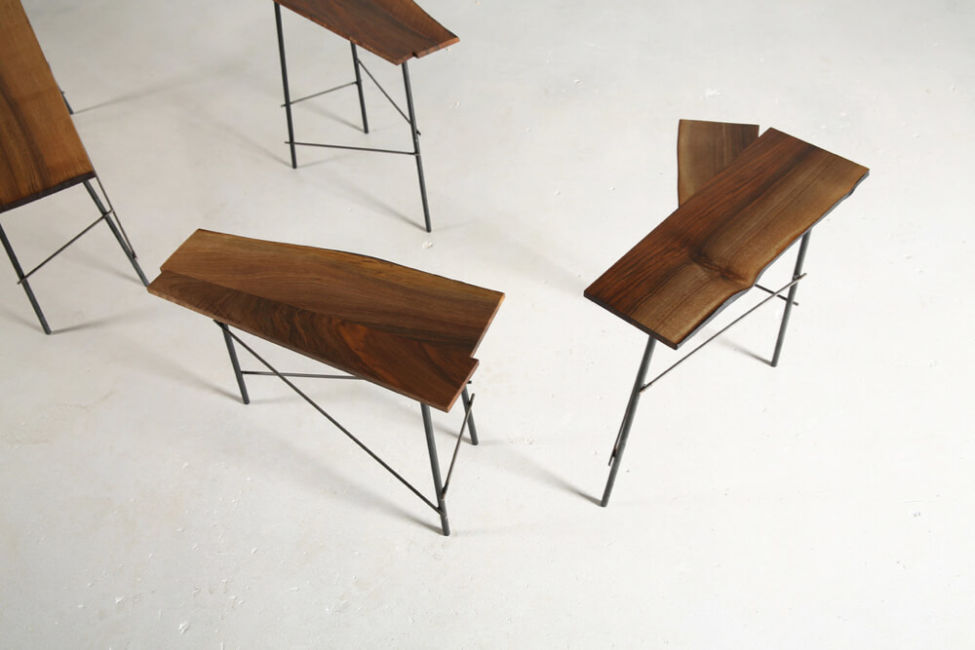 Scrap – coffee tables in Italian walnut & metal by Heerenhuis