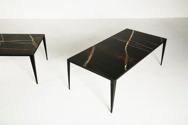 SHRP - a coffee table in black marble & metal by Heerenhuis