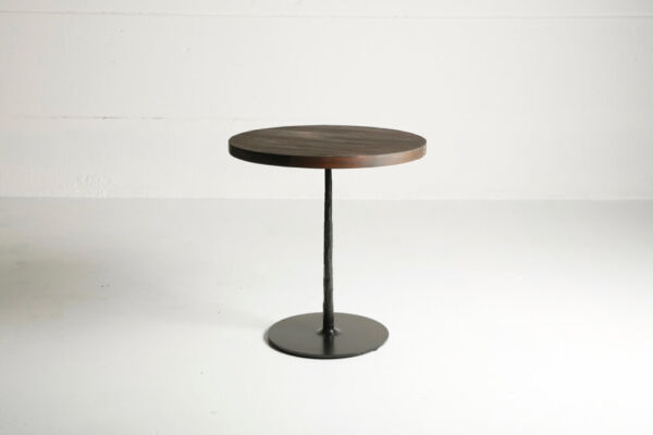 Spike table with reclaimed teak top and charcoal finish by Heerenhuis