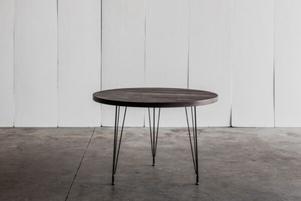 Sputnik table with 4cm thick top in reclaimed Teak with charcoal finish by Heerenhuis