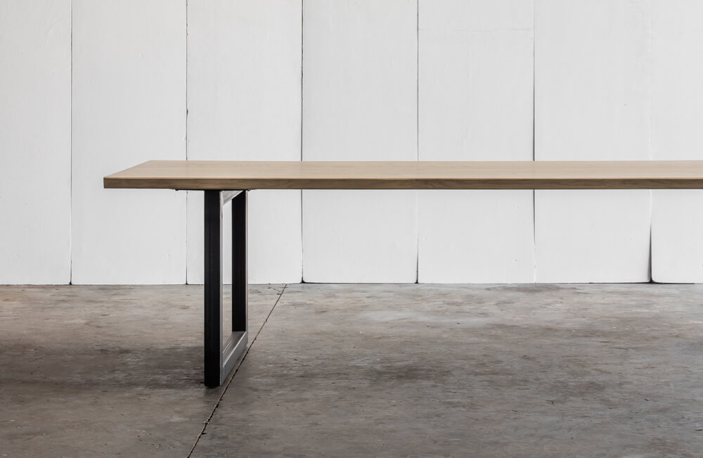 Tube Oak table with top in solid French oak by Heerenhuis