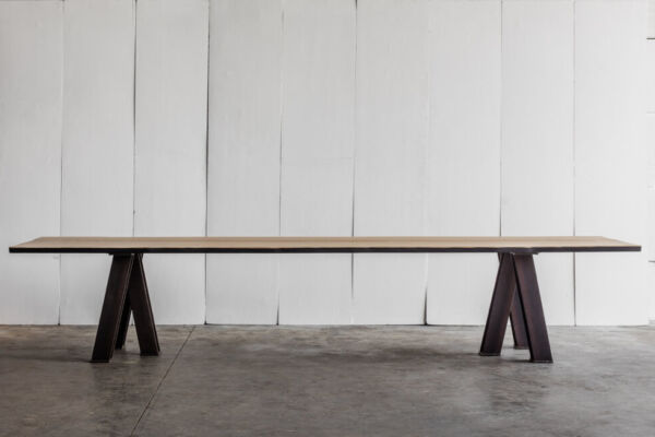 VIR table - made to measure in rough oak by Heerenhuis